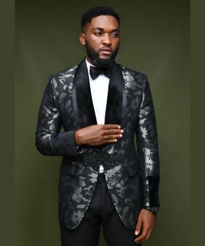 Black Floral Shawl Lapel Tuxedo Suit