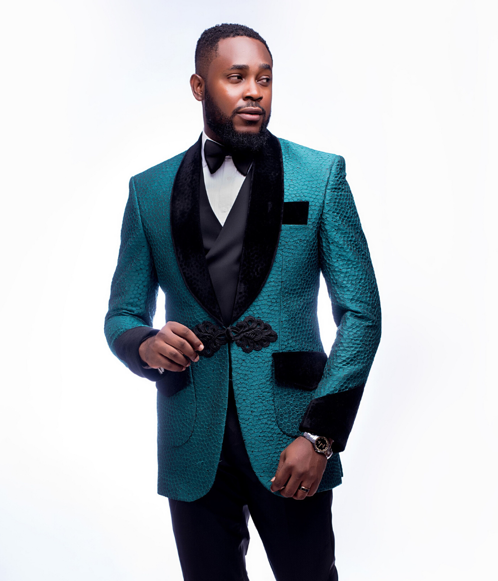 Teal and black shawl lapel wedding groom suit by Alan Cruzer