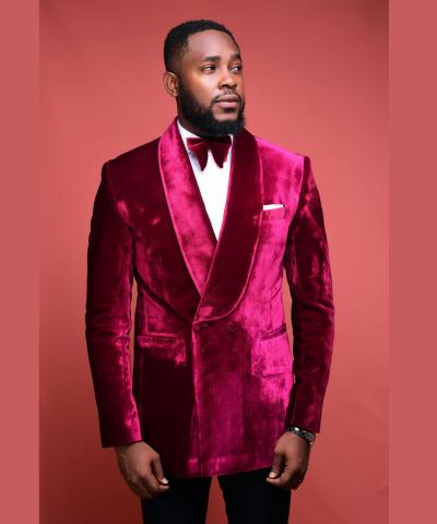 Burgundy Shawl Lapel Velvet Wedding Suit By Alan Cruzer