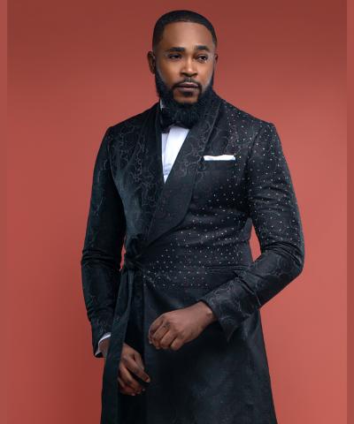 Embellished Long Jacquard Shawl Lapel Suit