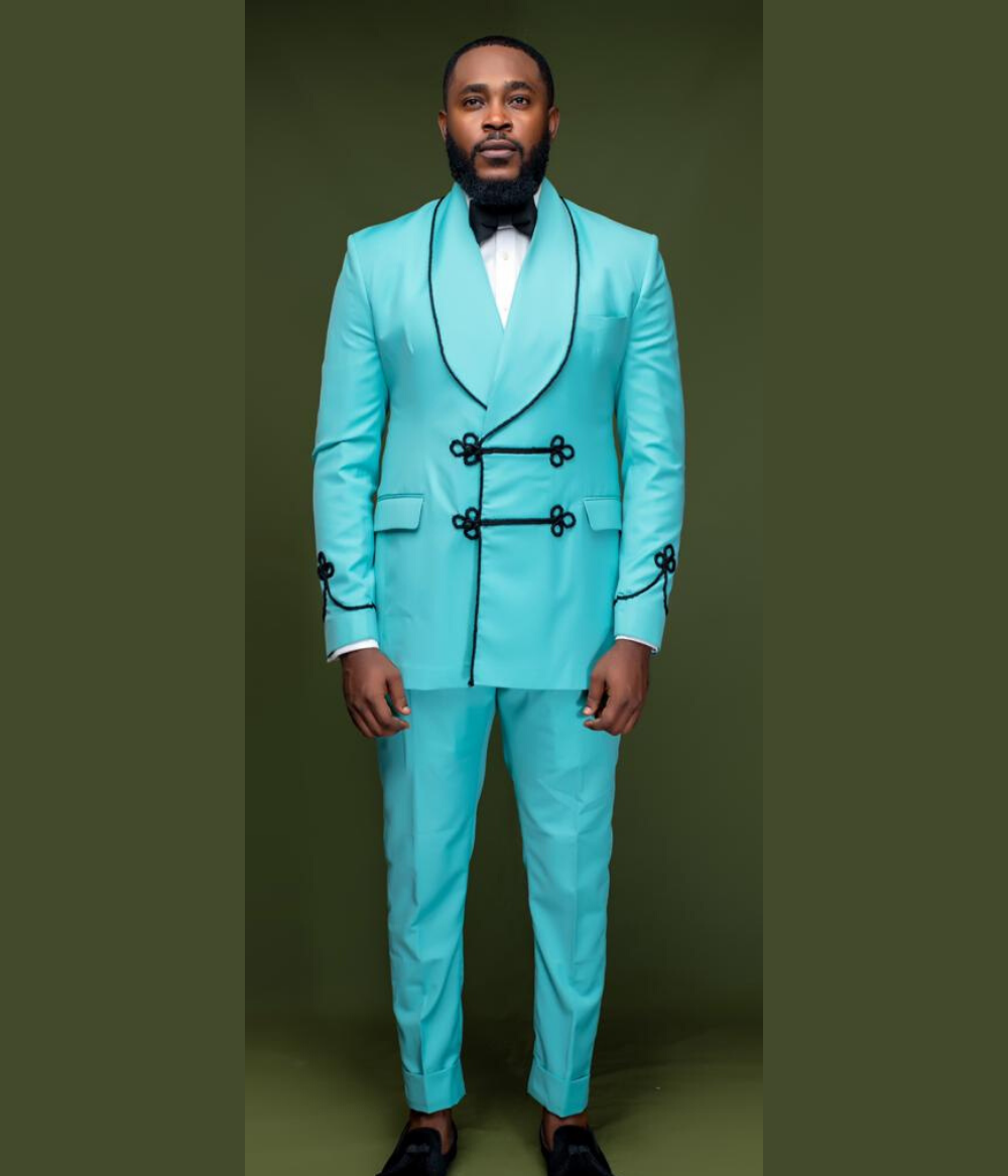 Mint Double Breasted Shawl Lapel Suit With Chinese Button