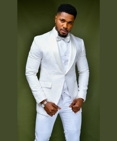 All White Floral Patterned Shawl Lapel Suit