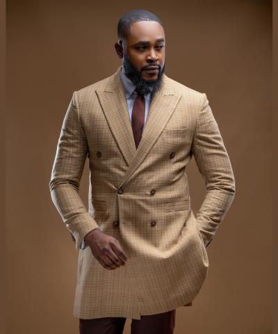 Check Men's Midi Coat