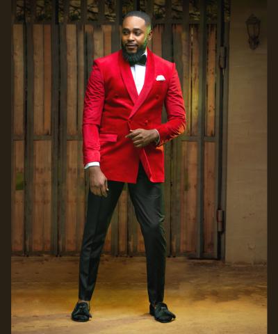 Lush Red Velvet Double Breasted Tuxedo Suit