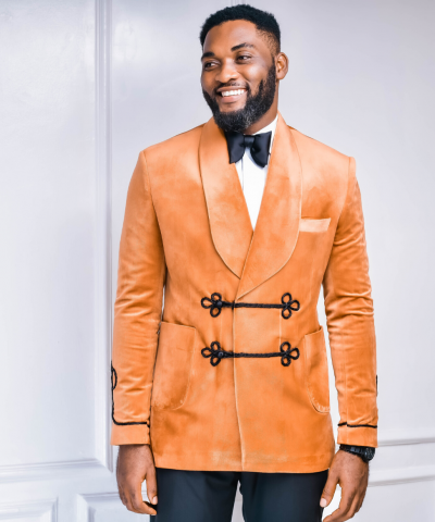 Burnt Orange Double Breasted Shawl Lapel Suit