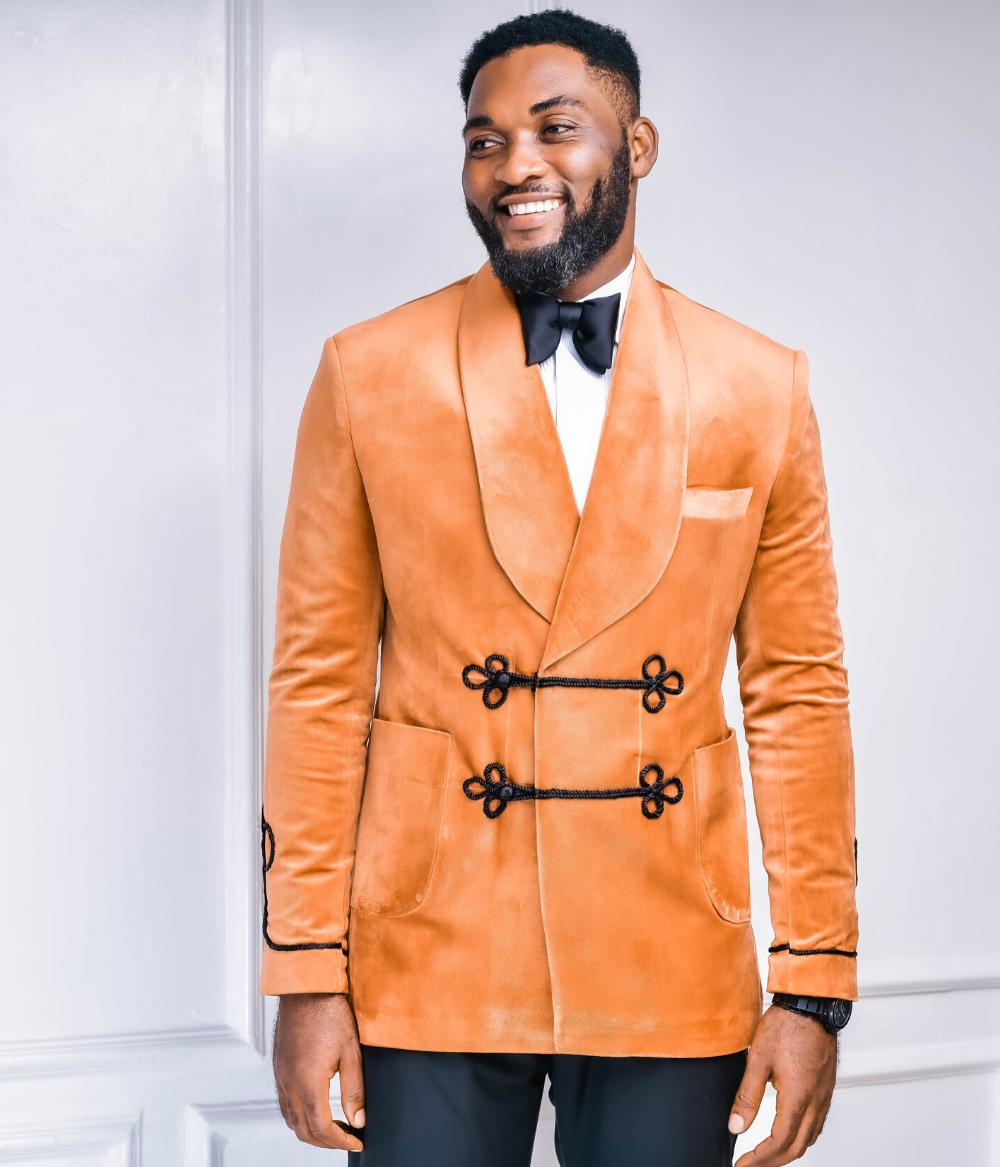 Burnt Orange Double Breasted Shawl Lapel Suit